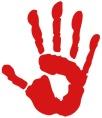 Handabdruck Hand rot